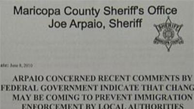 Comunicado de prensa que menciona las quejas del sheriff Arpaio