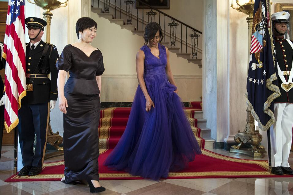 At the 2015 state dinner for Japan wearing Tadashi Shoji.