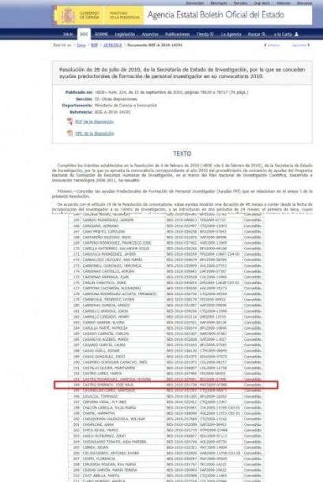 Instituto de Ciencias de Materiales de Sevilla,  Beca adjudicada. .  Est...