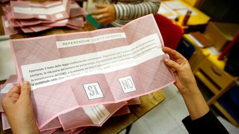 Boleta del referéndum italiano.