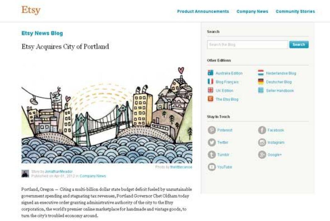 Etsy compra la ciudad de Portland (2012) - Si alguien iba a comprar una...