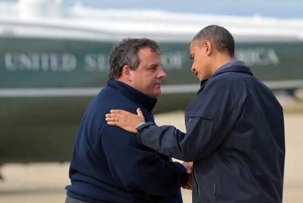 El Presidente Obama y el Gobernador de NJ, Chris Christie, recorren Atla...