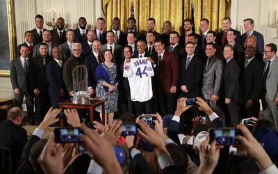 Barack Obama recibe los Chicago Cubs en la Casa Blanca