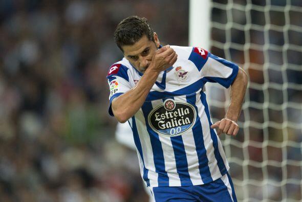 El atacante Riki marcó el 1-0 en favor del cuadro de la Coruña con apena...