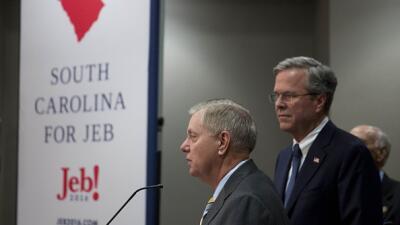 Senador Lindsay Graham y Jeb Bush en Carolina del Sur