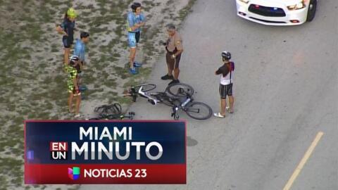 'Miami en un Minuto': dos ciclistas resultaron heridos en un accidente d...