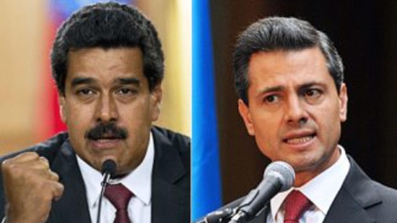 Los presidentes de Venezuela, Nicolás Maduro, y de México, Enrique Peña...