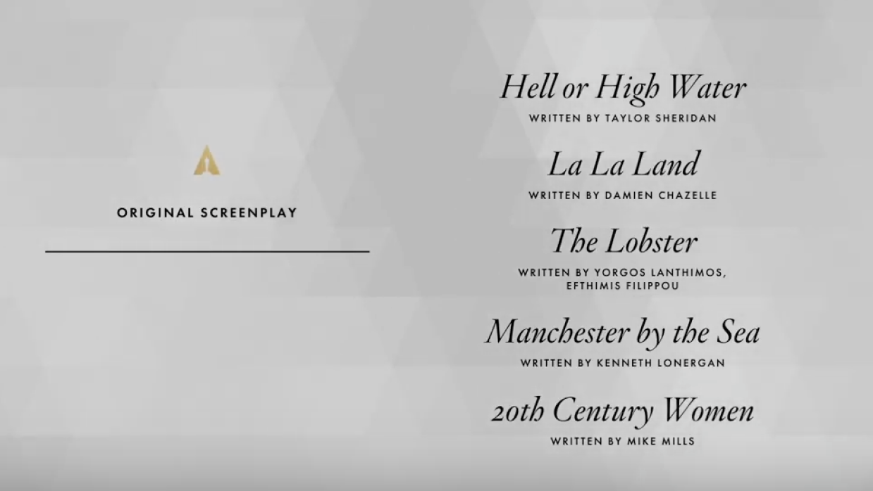 Nominados Oscar 2017 Guión original