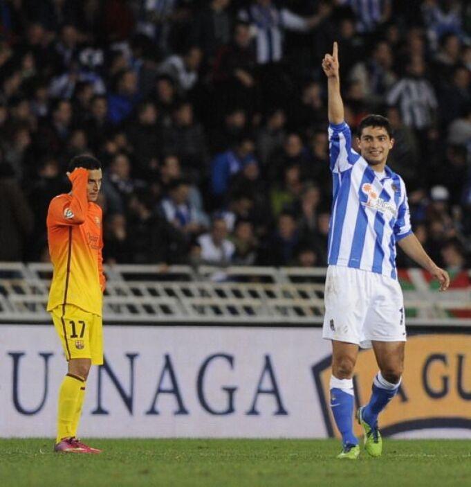 Después del poste de Messi vino el descuento de la Real Sociedad, con un...