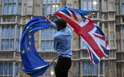 Manifestante anti-'Brexit' en Londres
