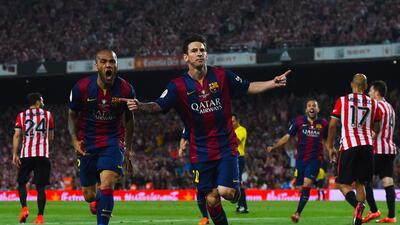 El astro argentino marcó dos goles para darle el doblete al Barcelona.