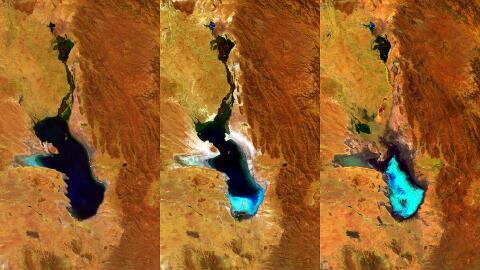 Imágenes satelitales muestran la desaparición del lago Poo...