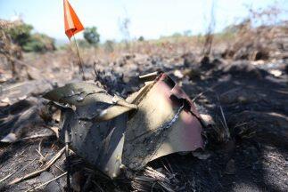 Restos del helicóptero Cougar derribado por criminales en Jalisco...