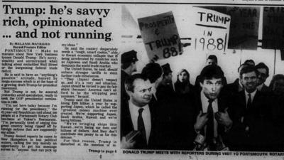 La visita de Trump a Portsmouth en el diario local.