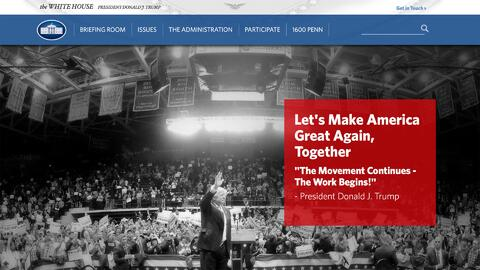 Donald Trump personaliza la página web oficial de la Casa Blanca con su...