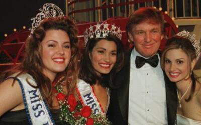 Machado, far left, with Donald Trump