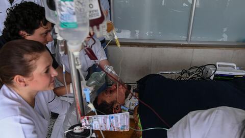 Hélio Zampier Neto cuando era trasladado de urgencia a un hospital de Me...