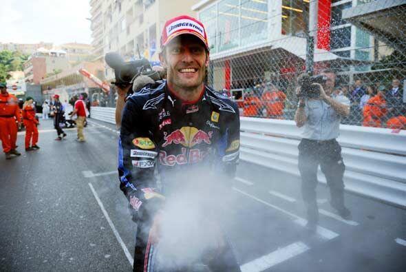 Webber celebró al mejor estilo de Mónaco con champán para todos sus mecá...