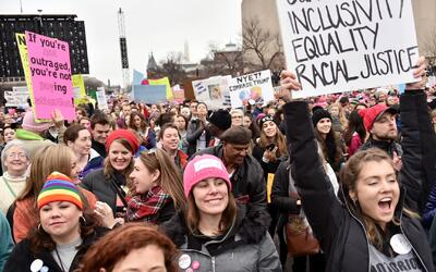 Manifestantes de Nueva York se unieron a la multitudinaria marcha de las...