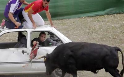 Crueles aficionados atacan a un toro desde un auto