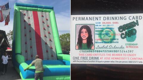 Imágenes del muro inflable y el cupon en forma de una 'green card...