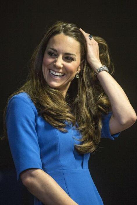 Middleton, de 32 años, arribó con una sonrisa que siempre la caracteriza.