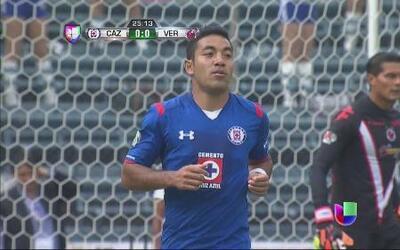 Cruz Azul vs Veracruz: Disparo de Marco Fabián atajado por el portero rival