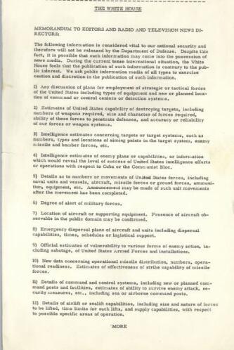 Instrucciones del presidente Kennedy a los medios de comunicación sobre...