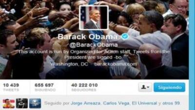 El Twitter oficial de Barack Obama.