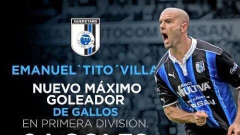 Emanuel Villa goleador Gallos - Twitter