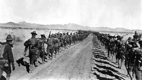 Soldiers return to the U.S. on January 27, 1917, after nearly 11 months...