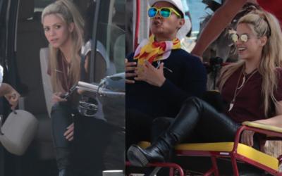 Shakira en un bicitaxi por Barcelona