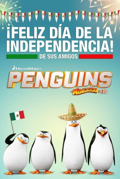 Y  unos colados: los pingüinos de Madagascar, se pusieron los sombr...