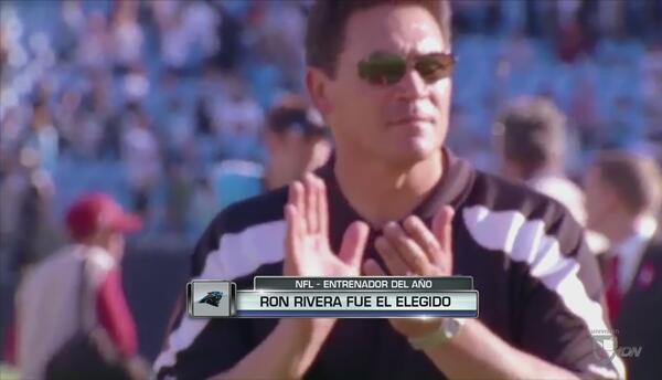 Ron Rivera fue elegido por la NFL como el entrenador del año