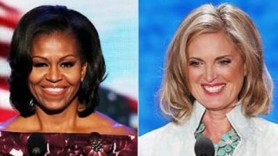 La Primera Dama de EEUU, Michelle Obama, y la esposa del candidato presi...