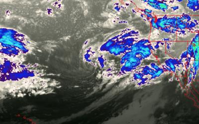 Imágen satelital de frente lluvioso que llegó a la regi&oa...