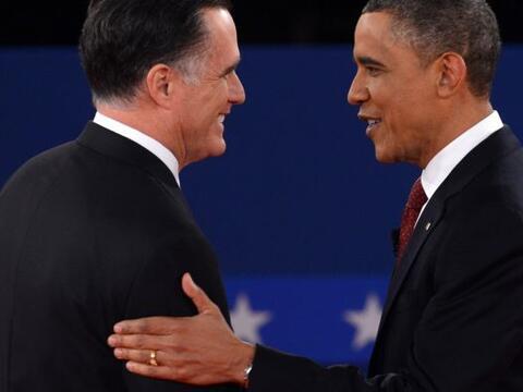 El segundo de tres debates entre el Presidente Barack Obama, candidato a...