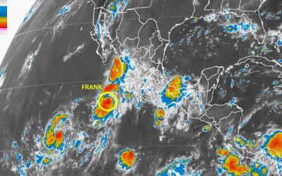 La ubicación de la tormenta tropical Frank, con respecto al territorio m...
