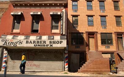 Un edificio en renovación en el vecindario de Harlem, en Manhattan.