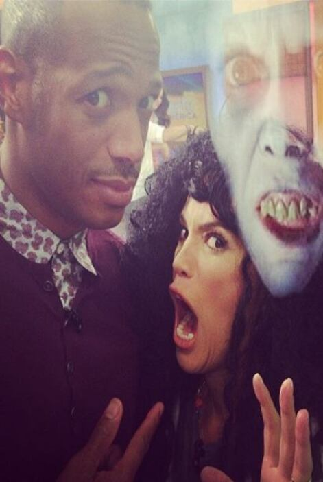 """I think @marlonwayans got scarier with me than when filming #huntedhous..."