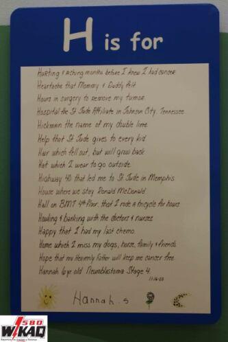 En uno de los pasillos del hospital St. Jude nos topamos con el abecedar...