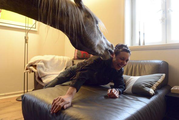 Ya que si el caballo decidiera saltar sobre su dueña seguramente...