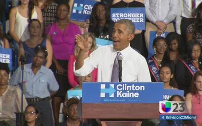 El presidente Barack Obama visita Florida para apoyar a Hillary Clinton