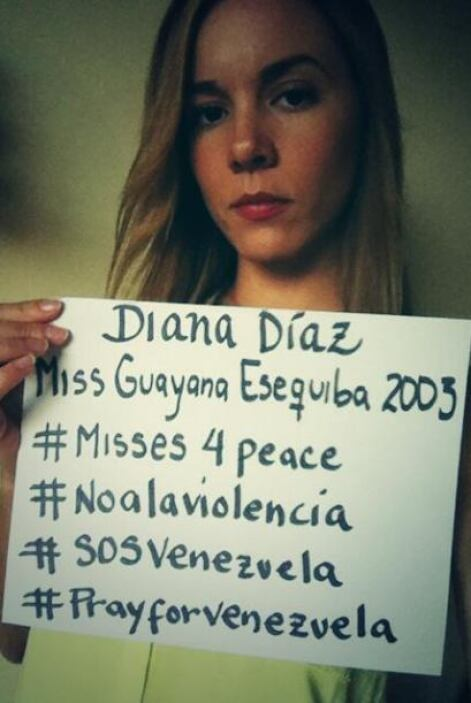 Diana Díaz, Miss Guayana Esequiba 2003, pidió paz para el país sudameric...