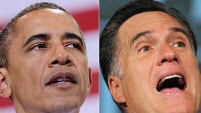 El Presidente Barack Obama y el candidato presidencial republicano Mitt...