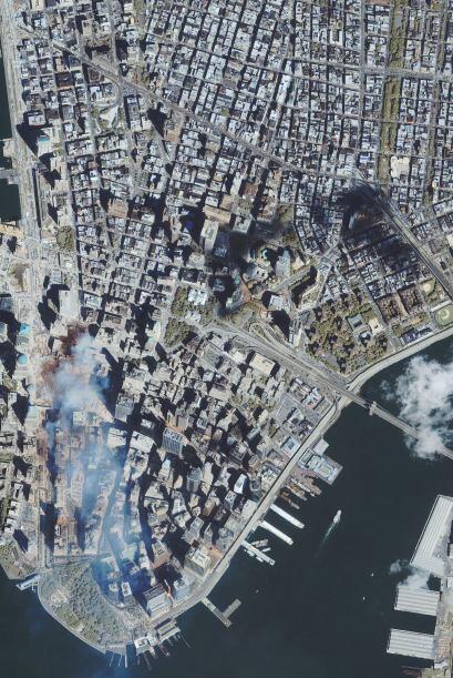 En esta imagen satelital se observa la nube blanca que se expandió por e...