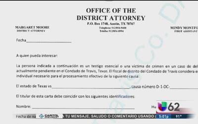 Fiscalía del condado Travis emite una carta para proteger a testigos o v...
