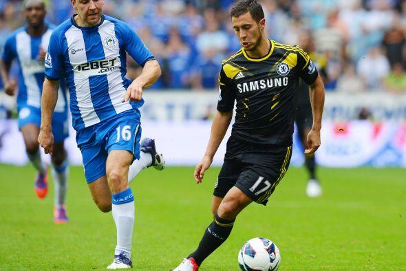 Chelsea insistió el resto del juego, aunque Wigan también tuvo ocasiones...