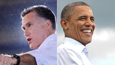El candidato presidencial republicano, Mitt Romney, y el Presidente Bara...
