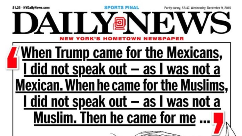 Portada del New York Daily News